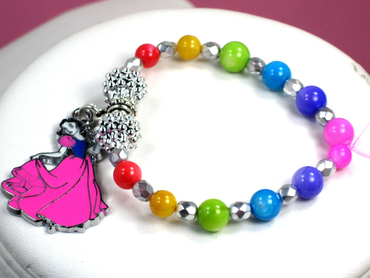 Girls Charm Bracelets on Young Girls Snow White Charm Bracelet Rainbow Colored Bright Shining