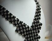 Beaded black silver necklace, elegant unique design, OOAK