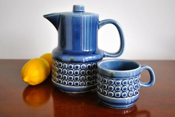Japanese ceramic royal blue tea set
