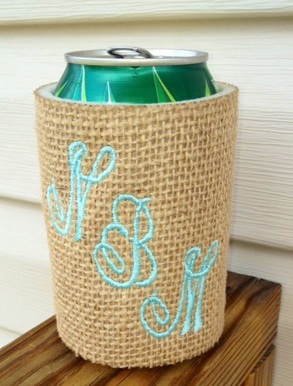 Monogram Koozie Burlap- Insulated- Fits can or bottle drinks Lots of Burlap colors available