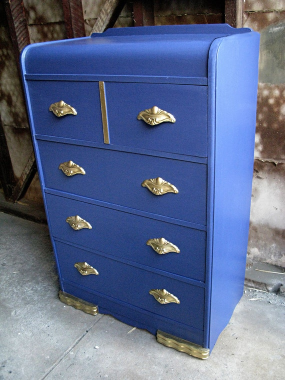 Vintage Art Deco 4 drawer Blue Dresser with Antique Gold Hardware - Refurbished