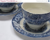 "ON SALE Staffordshire ""Liberty Blue"" - Two Cup and Saucer Sets - JosChinaShop"