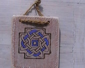 Celtic Knot Wood Burned and hand painted Blue (Ref:66)