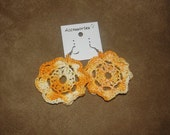 Crocheted Yellow multi Flower Earrings