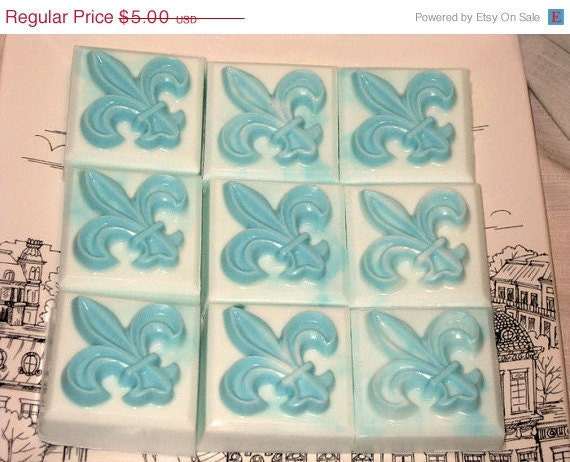Fleur de Lis Tiffany Inspired Distressed Look Lavender Soap Tiffany Blue Vegan Friendly - $5.00 USD