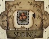 4 Seasonal Sheep Prints. Set of four square Seasons Sheep folk art prints. Spring - Summer - Autumn - Winter. Donna Atkins - folkartbydonna