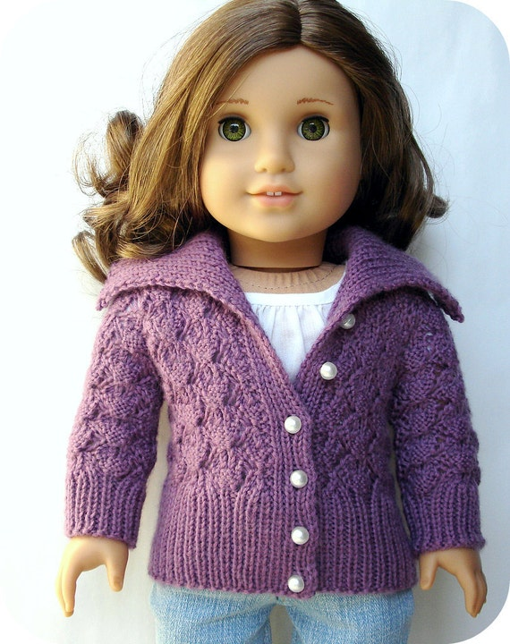 "Helena Lace Cardigan Sweater - PDF Knitting Pattern For 18"" American Girl Dolls"