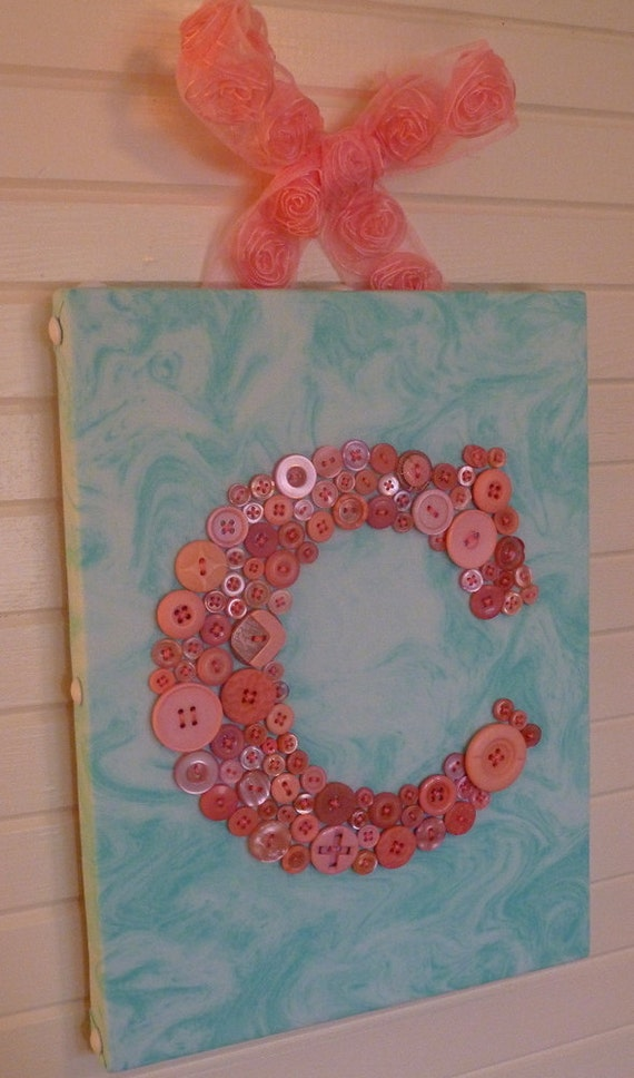 """Your Baby's Initial in Buttons on 9""""x12"""" Canvas -- by Letter Perfect Designs"""