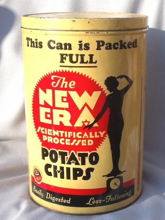 1937 New Era Potato Chip Tin 1lb