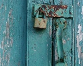 Turquoise blue gold rust door  photograph cemetery door lock handle close up   LOCKED Southwest - elephantdreams