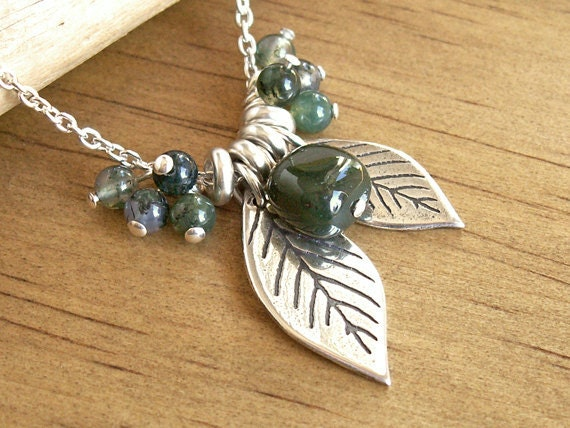 Forest Leaves Necklace woodland nature cluster of green jasper moss agate natural stones handmade charms on .925 sterling silver chain