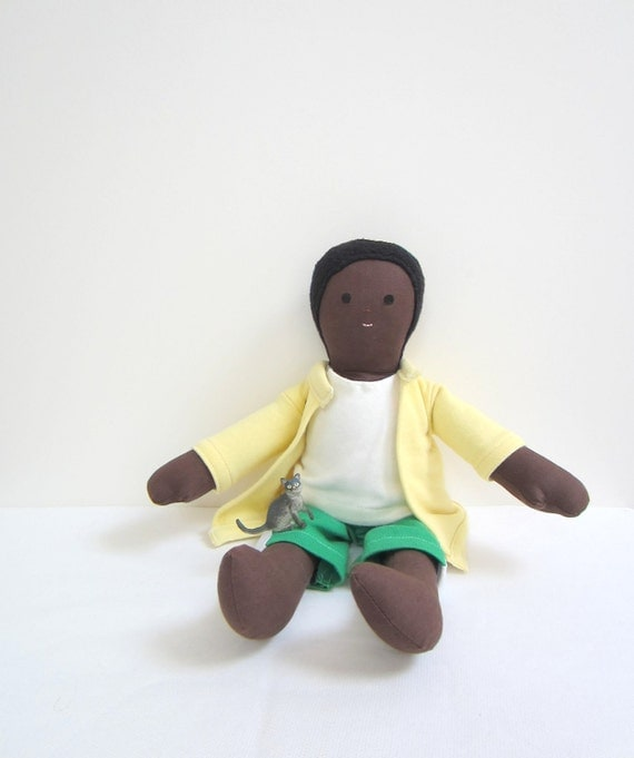 SALE Uri the eco friendly Boy doll handmade upcycled South American African American brown green yellowbubynoa Best Friend