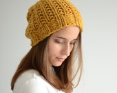 Chunky Slouch Hat - Hand-Knit - The Ceres in Mustard Golden Yellow - ToilandTrouble