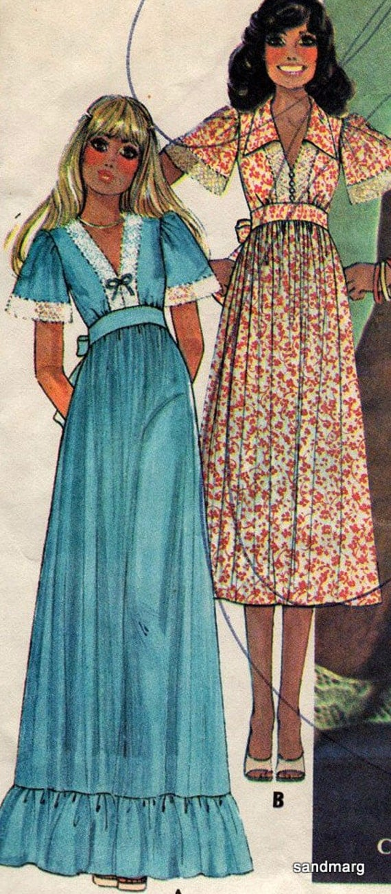 McCalls 4821 Vintage 1970s High Waisted Maxi or Ankle Length Dress or Top Sewing Pattern  Size 8