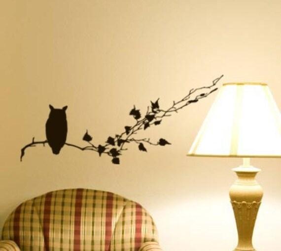Halloween Owl decal decor sitting on tree branch home vinyl wall art sticker