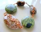 Autumn Ocean Jasper & Copper Bracelet - Wire Wrapped - Rustic - stoneandbone - Bohemian