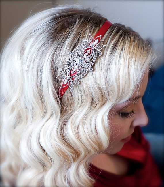Holiday Crystal Headband with Red Satin Headband Crystal Embellishment