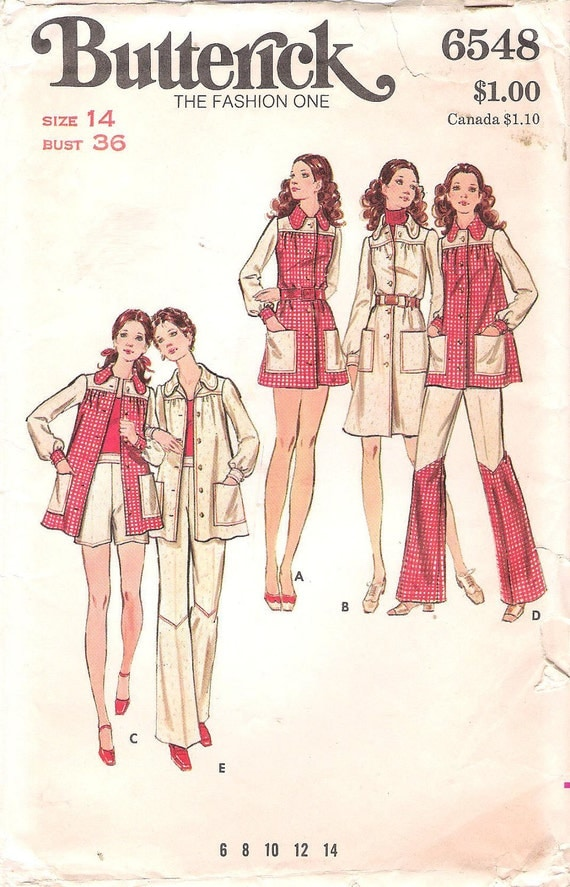 Retro 1970's Amazing Flared Leg Contrasting Pants, Butterick Sewing Pattern 6548,Smock Top, Micro-Mini Dress, Pants and Shorts, Bust 36