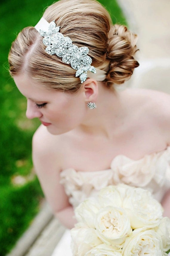 085 - BEST SELLER - Double Rhinestone Rose Headband- Crystal, Wedding, Bridal, Headpiece