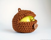 Crochet Apple Cozy in Cinnamon Brown - Fall Autumn Farm Garden Cotton Spice Rust Earth Nature Wood Woodland Nutmeg Forest - theteam oht - natalya1905