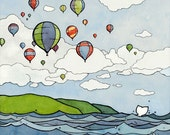 Hot Air Balloons Illustration Art Print 5x7