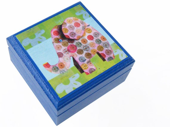 Elephant design Blue Keepsake Box by Walter Silva