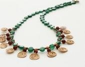 Green aventurine and red wine garnet with copper spirals handmade in Israel MADE TO ORDER