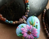 Abby Necklace - Polymer Clay Heart Pendant with Seed Bead Necklace - StoneStreetStudio