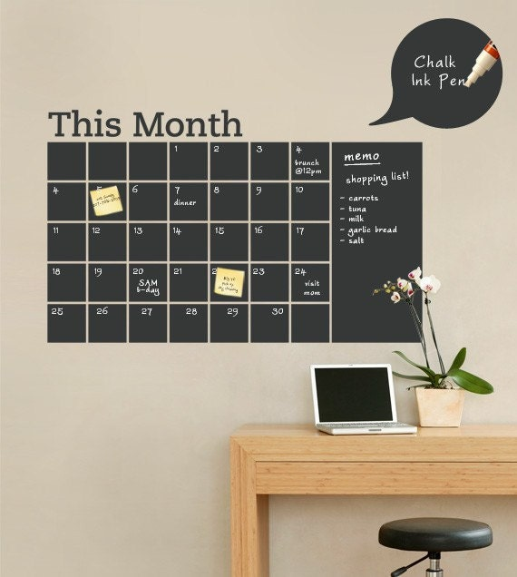 Chalkboard Wall Calendar Decal