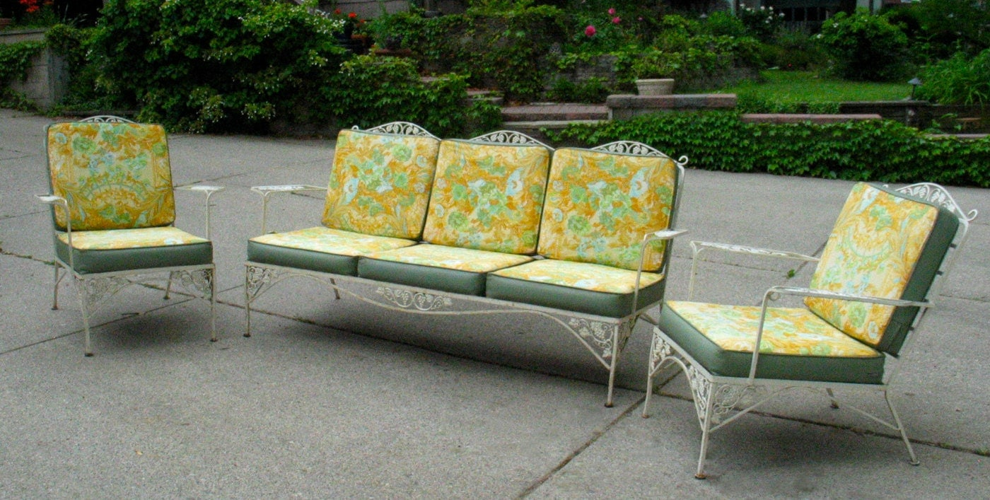 Items similar to vintage woodard iron patio set sofa pair for Retro outdoor furniture