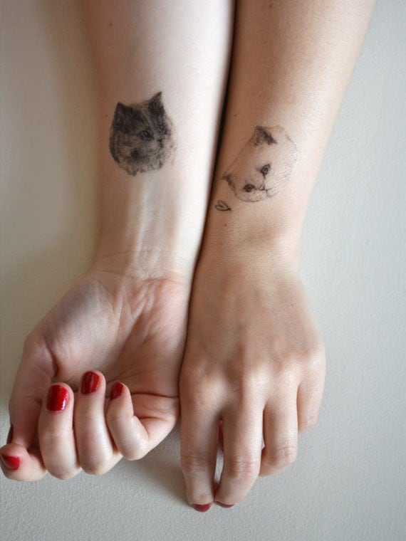PRE ORDER temporary tattoos - set of three fake cat tatts - 7designs to choose from - realistic tattoos - mix and match