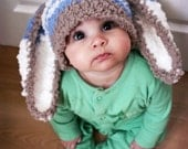 0 to 3m Easter Newborn Baby Hat Bunny Hat - Stripe Bunny Beanie Boy Crochet Hat - Newborn Hat Brown Lagoon Blue Cream Bunny Ears Photo Prop - BabaMoon