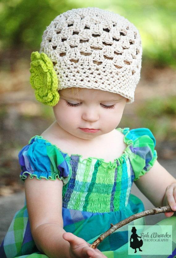 Girls Crochet Ecru Hat Beanie with Bright Green Flower -  Baby/Toddler/Child - Tan, Natural, Cream