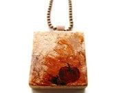 Apple Scrabble Necklace Hand Painted on Copper Leaf Vintage Scrabble Tile -The Apple - heversonart
