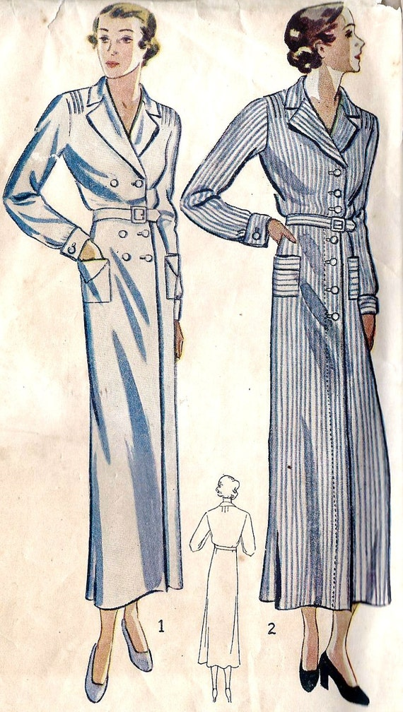 1930s Misses Coat Dress Vintage Sewing Pattern, Simplicity 1562 Bust 32""