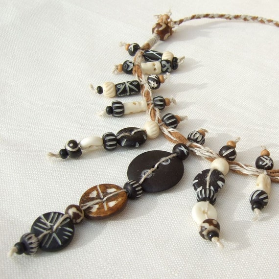 Black and brown bone and natural hemp Necklace, mock suede, wood, plaited knotted twine.