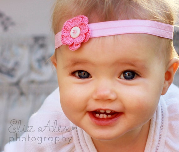 Pink Crochet Flower Headband with Vintage Pearl Button and Pink Glass Bead Center, 3 to 6 Months Size (Item 360)