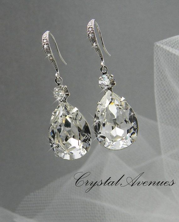 Bridal Earrings, Crystal Bridal earrings, Wedding Bridal Jewelry, Bridesmaids, Crystal Drop Bridal Earrings