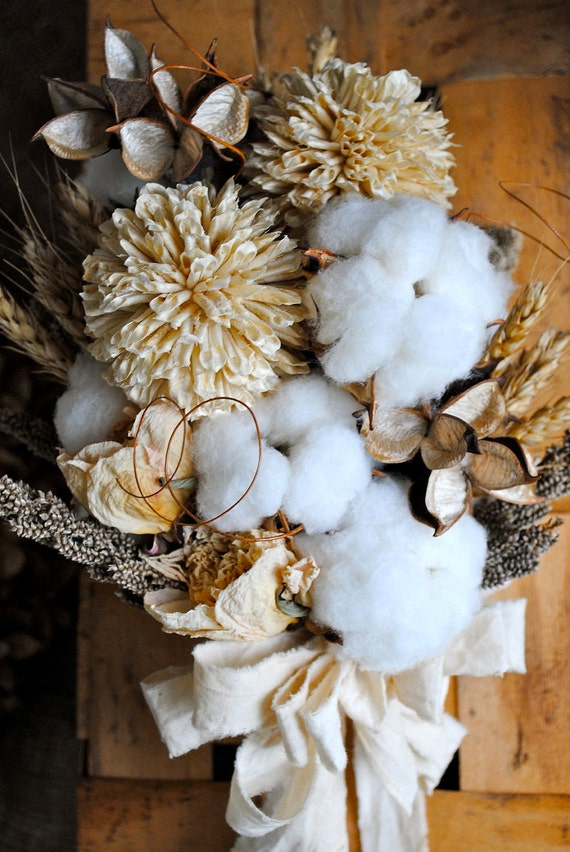 Bridal Bouquet - Natural Cotton Bolls - Raw Cotton - Wedding - Bridesmaids - Dried Bouquet - Boutonnieres