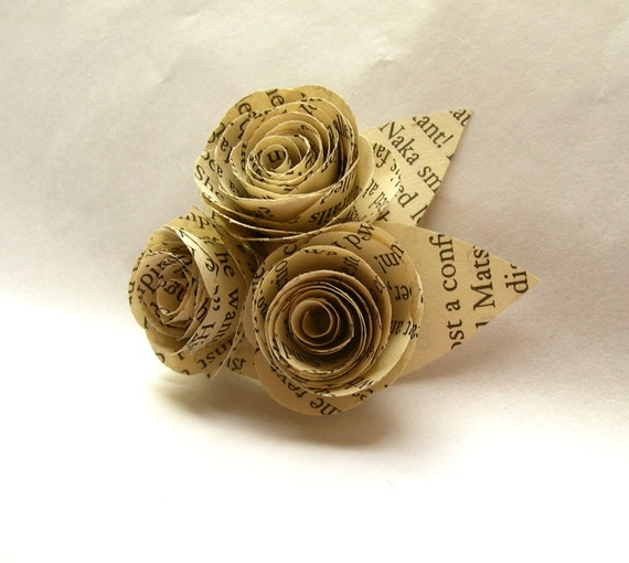 Book Page Flower Boutonnieres // Library Wedding Book Page Roses