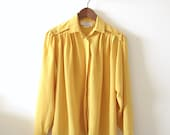Vintage Flowy Blouse - 1980s Mustard Yellow - Medium Large by Diane Charles - TwoMoxie