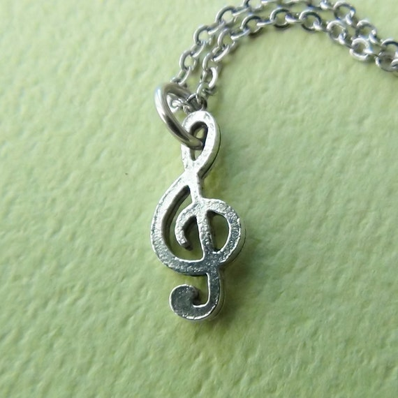 TREBLE CLEF - Pewter Charm on a FREE Plated Chain