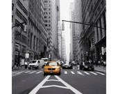 Yellow Cab photo, New York City NYC taxi photo, financial district Manhattan, Broadway, black and white urban decor, mad men