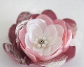 Pink Flower Hair Piece. Flower Hair Accessory. Flower Hair Clip. Bridal Hair Flower. Head Piece. TT team. rusteam - RomanticARTlife