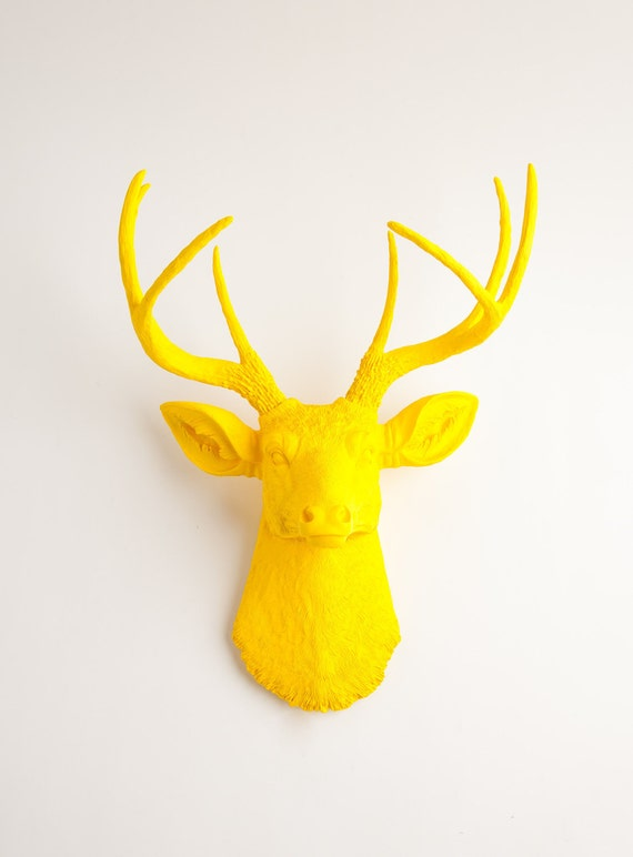 White Faux Taxidermy - Fake Deer Head - The Pablo - Yellow Resin Deer Head- Stag Resin Yellow Faux Taxidermy- Chic & Trendy