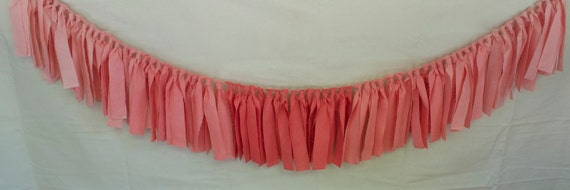 "Coral Peach Ombre hand dyed Fabric ""rag"" garland - Wedding & Party decor, photo backdrop"