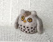 Needle Felted Snowy Owl Figure / Pincushion Handmade 100% Wool and Glass Bead Eyes - CUSTOM ORDER - Virtualdistortion
