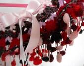 Crochet Poncho , 'Tween Fashion / PomPom Trim / Handmade Capelet - Red, Pink - OOAK