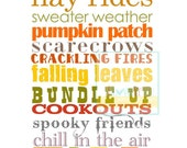 Fall Autumn Subway Art Poster Print Sign . 8x10 // Halloween Season Nature // Thanksgiving // Green Tangerine Red Yellow Sienna Orange Brown - iloveitall