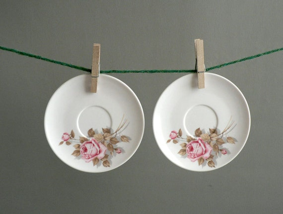 White Floral Melmac Saucers Set of Eight